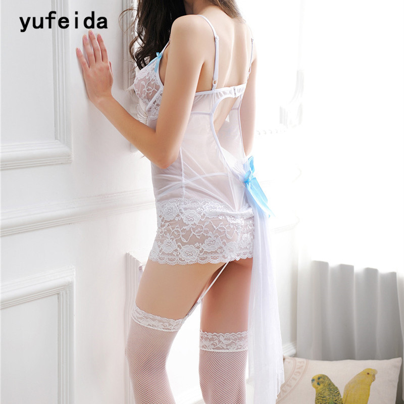 YUFEIDA Hot Sexy Women's White Babydoll Soft Lace   Nightgowns     Sleepshirts   Dress Nightdress Nighty Sleepwear+G-string+Garter Belts