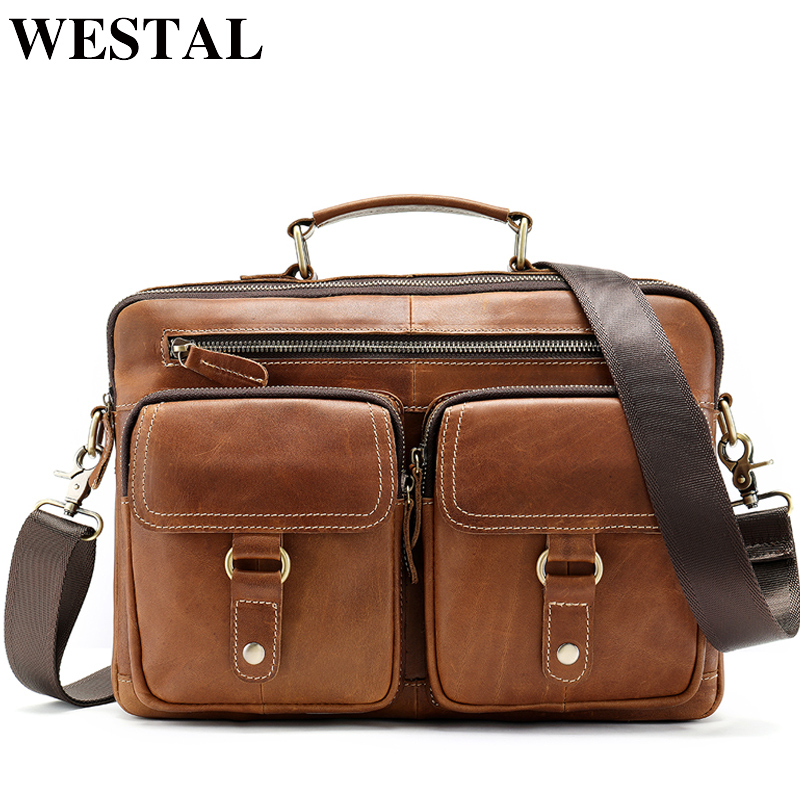 WESTAL Men's Bags Genuine Leather <font><b>laptop</b></font> bag 13'' Men Briefcases Bags Messenger Bags Men Leather Work Office Bags for Man 8622 image
