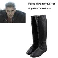 Botas Cosplay Final Fantasy VII Advent Children Loz Loz Sapatos Pretos Homens Adultos Acessórios Do Traje Cosplay Halloween Custom Made