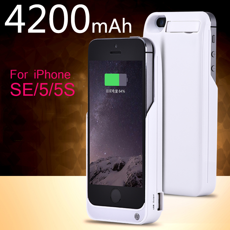imágenes para Caso del cargador para el iphone 5, 5S, SE 4200 mAh batería de reserva externo Portable de la energía Banco de la Energía de Carga Inalámbrica caja del teléfono