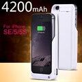 Caso del cargador para iphone 5, 5c, 5s, se 4200 mah batería de reserva externo portable de la energía banco de la energía de carga inalámbrica caja del teléfono