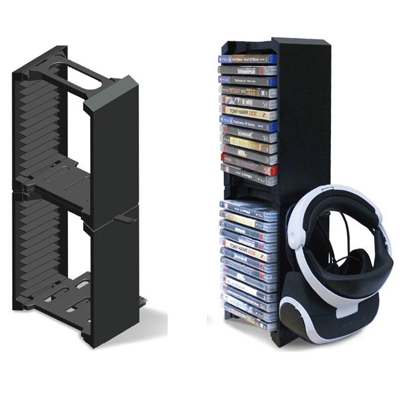 PS4 2 Dupla camada Suporte De Armazenamento De Multi-funcional Kit Assentos Para PS4 24 pcs Jogo Discos Pro/PS4 magro/PS4/X-ONE S/VR Óculos Titular