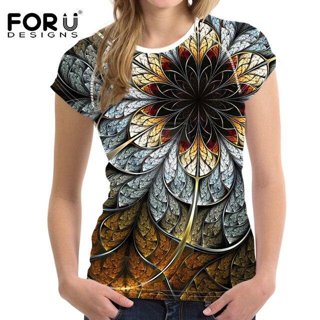 Forudesigns Футболки Для женщин Футболки 3D цветочный футболка Femme Футболка Для женщин модные футболки Vetement Femme женские футболки Топ