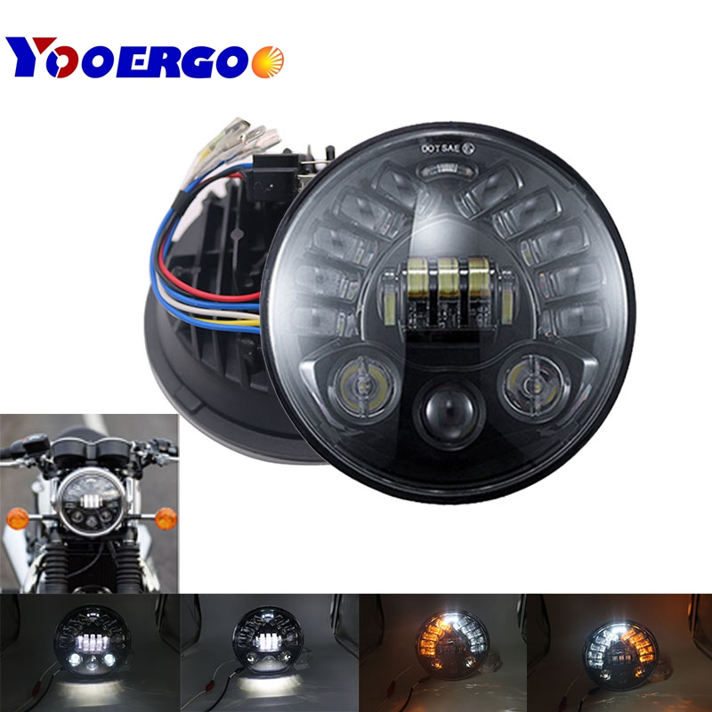 7 Inch LED Black/Chrome Round Adaptive Motorcycle Headlight with Hi/Lo Beam Projector Daymaker 7