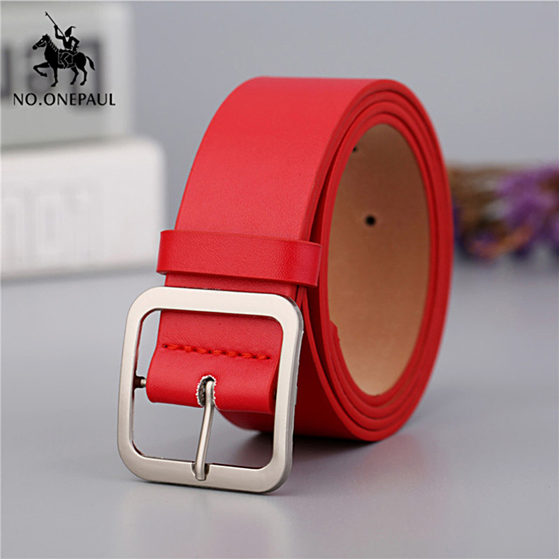 NO.ONEPAUL Genuine Leather Ladies High Quality Retro Cute Ladies Casual Belt Simple Square Buckle New Ladies Belt Free Shipping