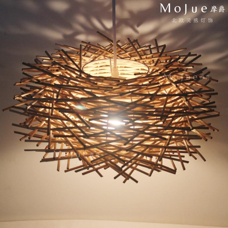 ФОТО Modern home decoration D30/40/50cm art birds nest  pendant light  wool vintage bedroom pendent lamp free shipping