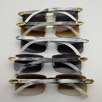 a43530a8e Natural Preto Chifre de Búfalo Branco Óculos De Sol Dos Homens Sem Aro  Óculos Quadrados Claros Quadro Shades Vintage para o Clube Ao Ar Livre  Eyewear