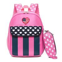 Rugzak fashion Nylon Baby Kids Ster Gestreepte Hart Dot Rugzak Peuter Schooltas 2 Stks Set Tas Voor School # yy