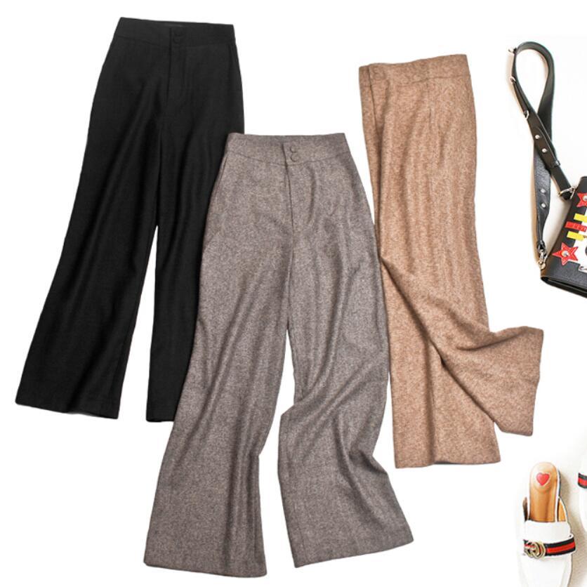 2018 winter New Women Plaids   Wide     Leg     Pant   High Waist Loose Woolen Trousers Straight office lady wool   pants