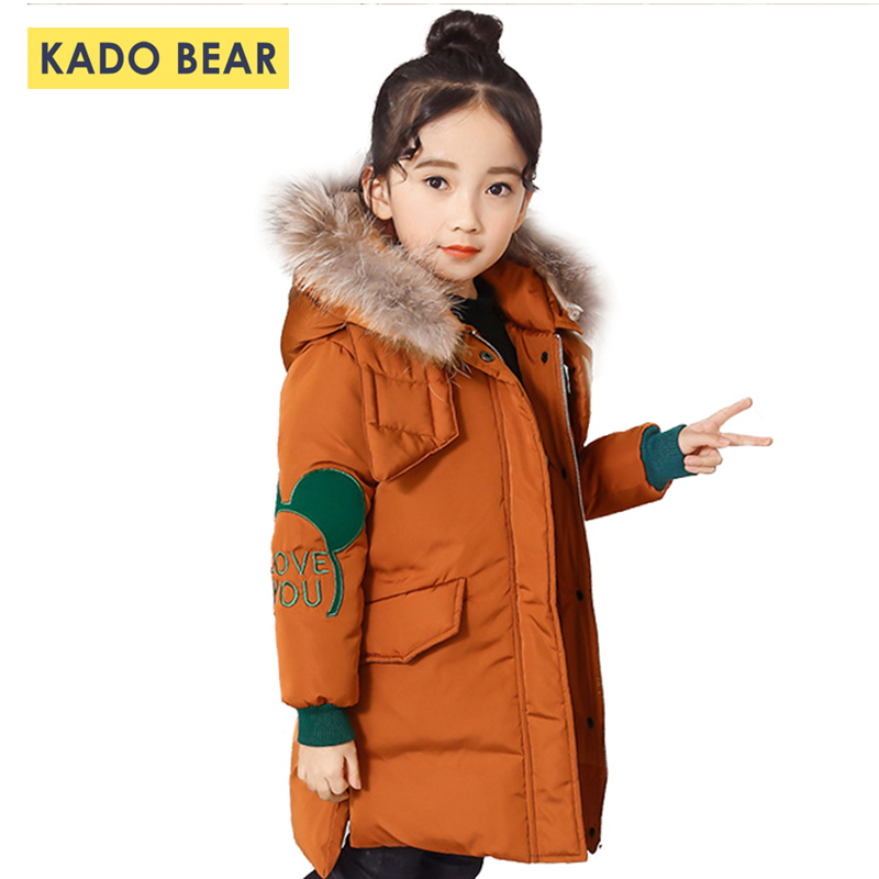 Girls Thick Warm Winter Coat Fur Collar Jackets Long Sleeve Kids Snowsuit Baby Girl Clothes New Fashion Coats Children Outerwear 2018 winter girls wool coats kids warm fashion lapel long sleeve collar girls clothes woolen coat fit 4 10t