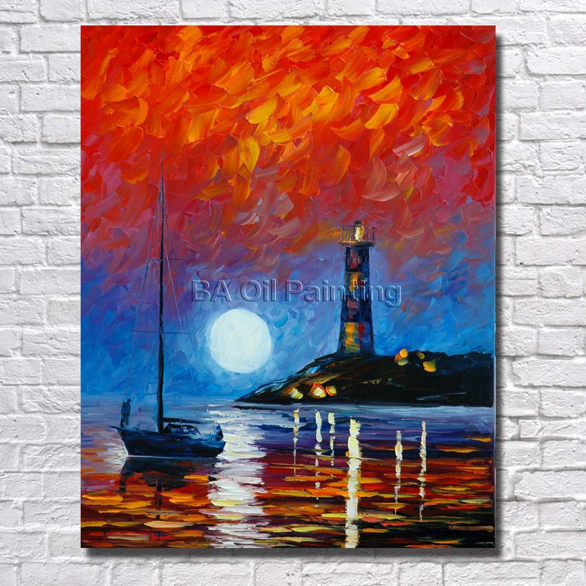 Us 13 52 35 Off Ba Oil Painting 100 Hand Painted Modern Design Knife Canvas Painting Sea Landscape Oil Paintings On Canvas Art No Framed In