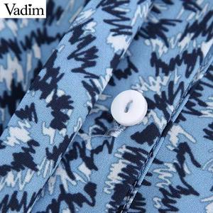 Image 3 - Vadim נשים שיק הדפסת שמלה ארוך שרוול O צוואר קו גבוהה מותן נקבה קרסול אורך שמלות vestidos QC560