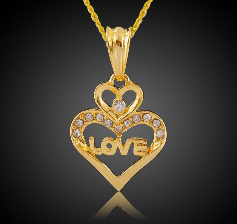 women necklace heart shaped pendant love letter necklace women's
