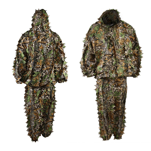4ea5ec5f36a39 Polyester Durable Outdoor Woodland Sniper Ghillie Suit Kit Cloak Military  3D Leaf Camouflage Camo Jungle Hunting Birding