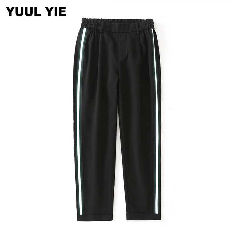 AOEMQ, женские элегантные штаны с боковой полосой, эластичный пояс, зеленый, черный цвет, женские осенние повседневные уличные модные штаны