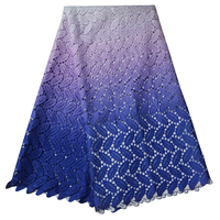 African Mesh Lace 2016 High quality african cord Lace /guipure french lace Fabrics in blue color