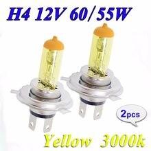 Hippcron галогенная лампа H4 12 в 60/55 Вт, желтый 3000 К головной светильник, стеклянный автомобильный светильник, автомобильная лампа, 2 шт. (1 пара)