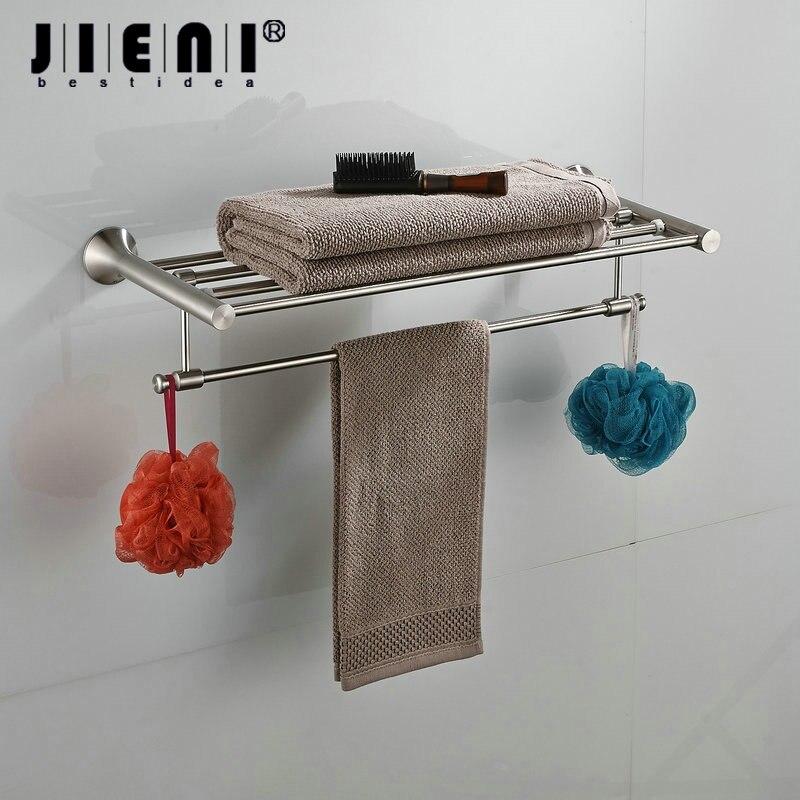 Nickel Brushed Finish Wall Mounted Bathroom Towel Rail Holder Bathroom Folding Storage Rack Shelf Bar Hanger стоимость