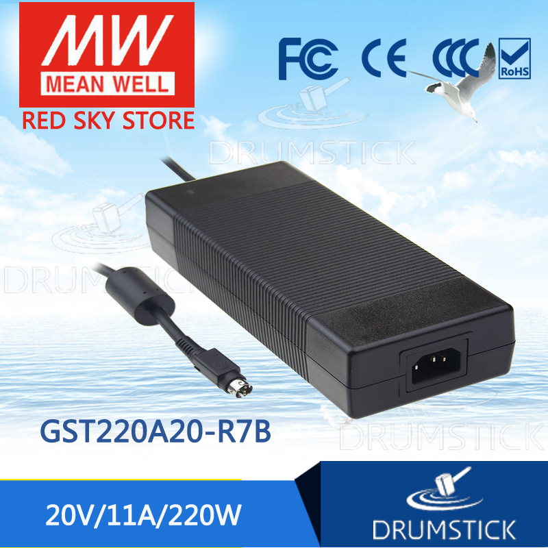 100% Original MEAN WELL GST220A20-R7B 20V 11A meanwell GST220A 20V 220W AC-DC High Reliability Industrial Adaptor 1mean well original gsm160a24 r7b 24v 6 67a meanwell gsm160a 24v 160w ac dc high reliability medical adaptor