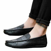 New Style Fashion Men Black Loafer Shoes Trendy Nubuck Leather Slip-on Loafers Casual Comfortable Flat Slacker Shoes