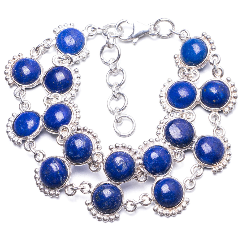 Natural Lapis Lazuli Handmade Unique 925 Sterling Silver Bracelet  6 3/4-7 3/4 Y1951