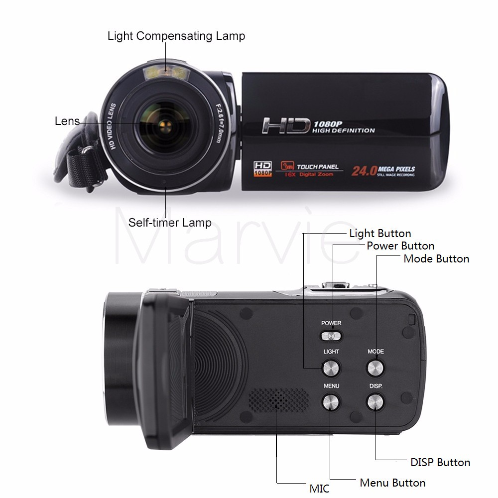 "Marvie FHD Camcorder True 1080p @ 30fps Max 24.0 MP Full Color Screen For Low light 3.0"" Touch Screen 16x Zoom DV Recorder 4"