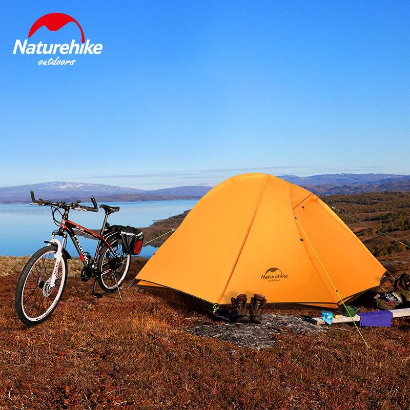 Naturehike 2 человека Сверхлегкая альпинистская велосипедная палатка 20D кремниевые двухслойные тенты база Спящая палатка Пешие прогулки скалол
