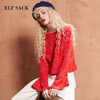 ELF SACK Metal Striped Crop Top Sweater Women Autumn 2017 Flare Sleeve Pullovers Sweet Candy Color Loose Womens Tops Sweaters