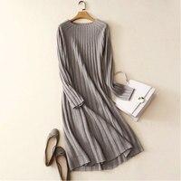 100% кашемир платье Для женщин модная одежда с длинным рукавом одноцветное Цвет длинные Платья свитеры 100% натуральная козья кашемировое плат