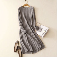 100% Cashmere Dress Women Fashion Long Sleeves Solid Color Long Sweater Dress 100% Genuine Goat Cashmere Dress Woman Winter