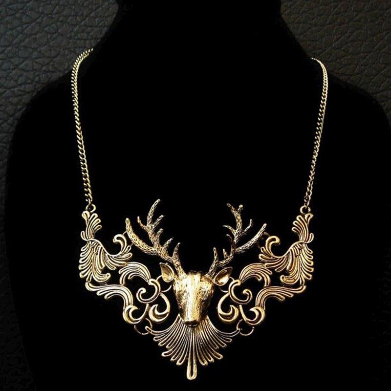 Vintage Vivid Deer Flowers Big Pendant Noble Necklace for Women Fashion Jewelry (around 40cm)