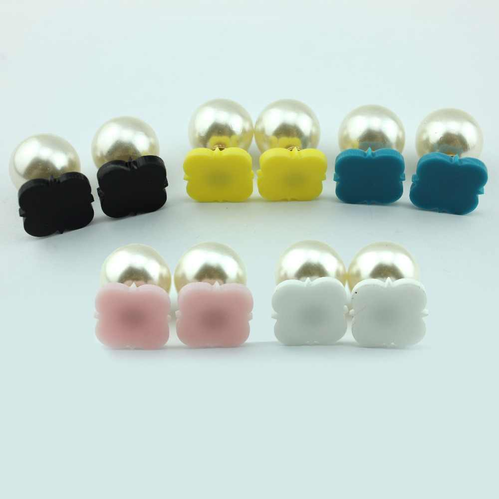Acrylic Blank Monogram Clover Pearl Double Stud Earrings for Women 2017 New  Fashion Personalized Jewelry 88639809ecfc
