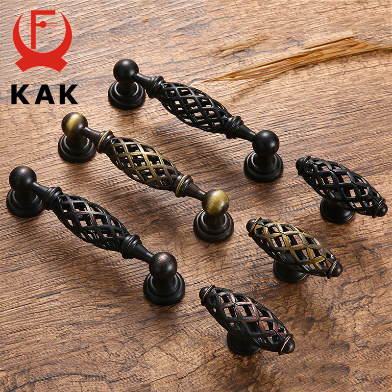 KAK Vintage Antique Bronze Cabinet Handles Hollow Out Birdcage Cabinet Pulls Drawer Knobs Wardrobe Door Pullers Furniture Handle