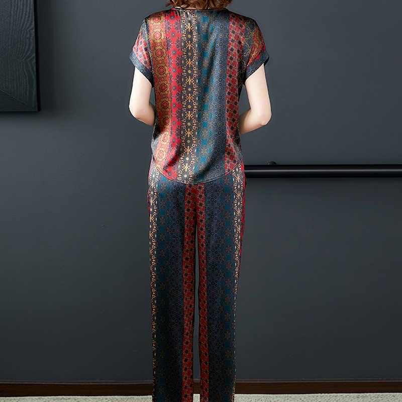 Kadın Zarif Yaz Iki Parçalı Set Sahte Ipek Üst ve Pantolon Takım Elbise Kıyafet Eşofman Spor co-ord Seti 2019 artı Boyutu Giyim