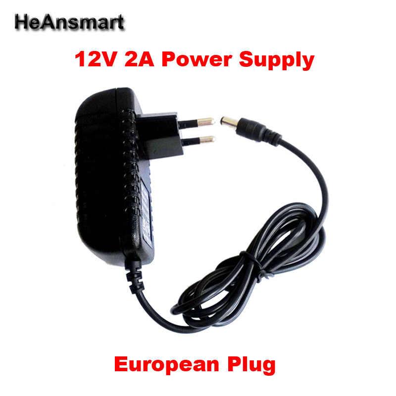 1PC gratuit 12V2A AC 100 V-240 V convertisseur adaptateur DC 12V 2A 2000mA alimentation prise ue 5.5mm x 2.1-2.5mm pour LED CCTV livraison gratuite