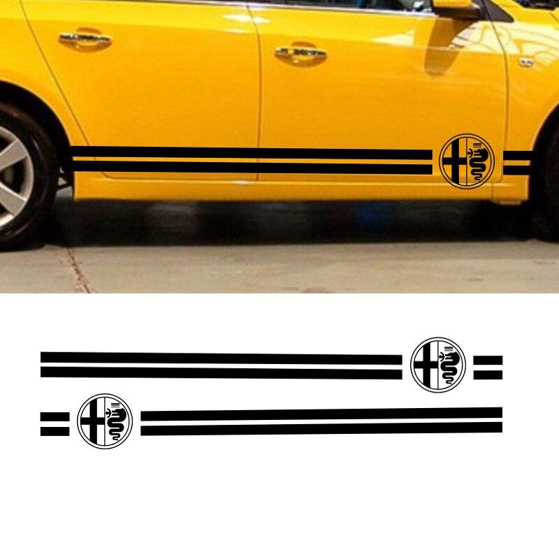 Confident Automobile,2pcs Car Dual Stripes Racing For Alfa Romeo Vinyl Decal Side Stickers Da-935 Car Stickers Exterior Accessories