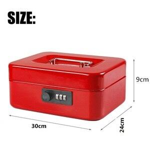 Image 4 - Cajas de seguridad de acero con llave y contraseña para guardar compartimento de almacenamiento, hucha de papel, pequeña, tarjeta de cambio, cajas de documentos con cerradura