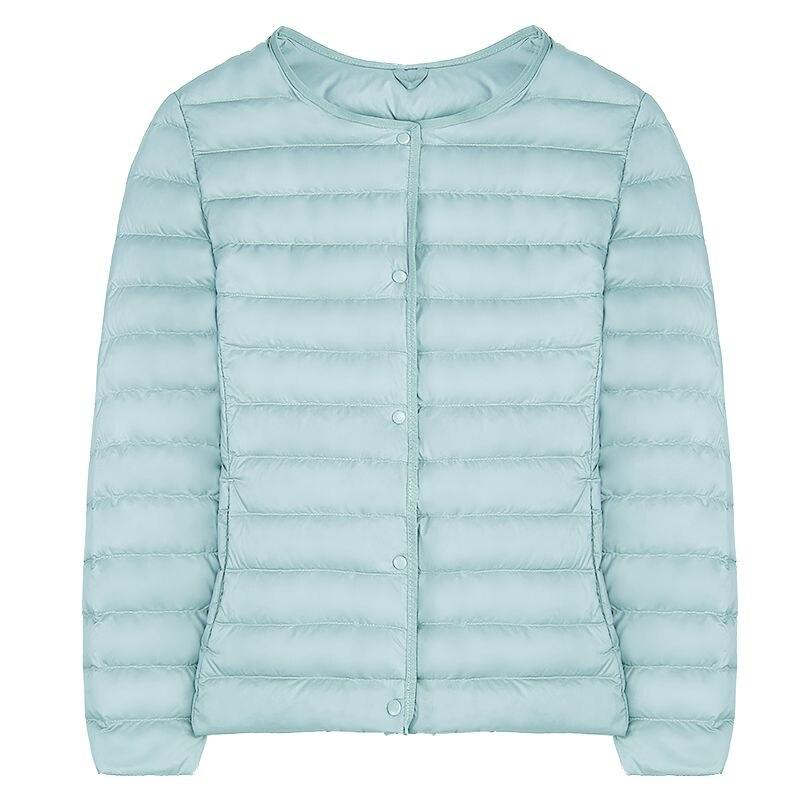 Women Ultra Light   Down   Jacket Round Collar Jackets Long Sleeve Button Warm   Coat   Parka Lightweight Jacket