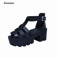 Famiao 2017 Korean Women Platform Shoes Gladiator Woman Sandals Summer Hollow Out Weave Ladies Sandal