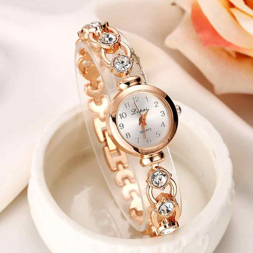 New 2019 Rose Gold Sliver Rhinestones Clock Female Quartz Wristwatches Crystal Stainless Chain Dress Watches Ladies
