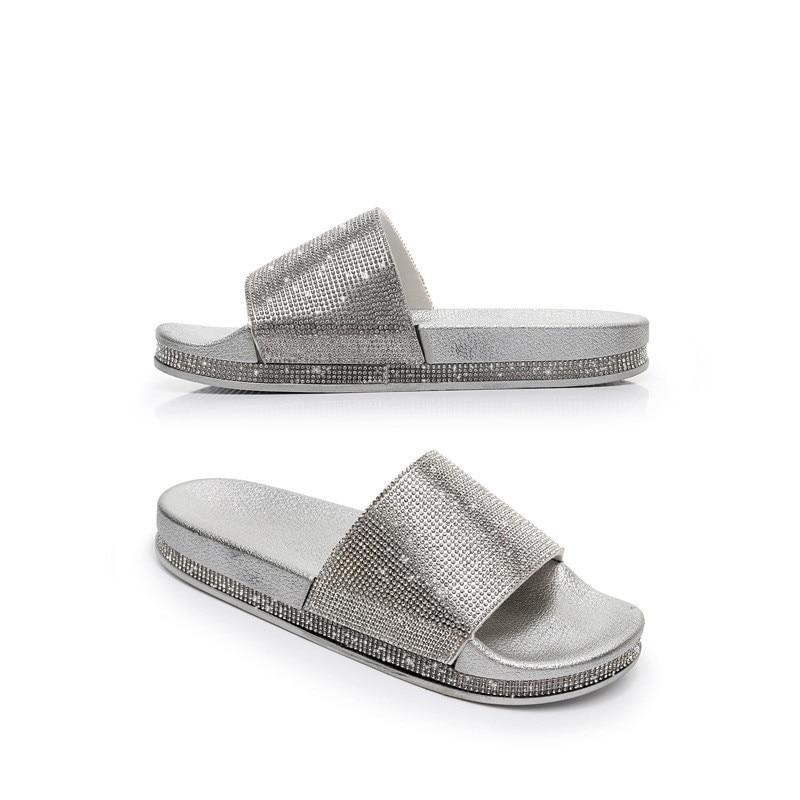 8e7edfaa9 2018 Big Size Crystal Diamond Slippers Summer Women Slippers Bling Beach  Slides Flip Flops Ladies Sandals