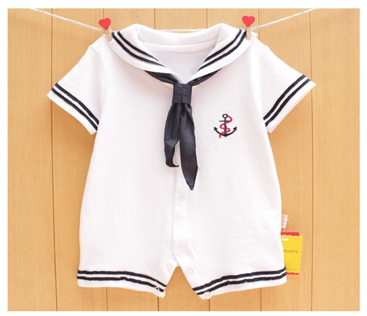 17 Newborn baby clothes White Navy Sailor uniforms summer baby rompers Short sleeve one-pieces jumpsuit baby boy girl clothing 2