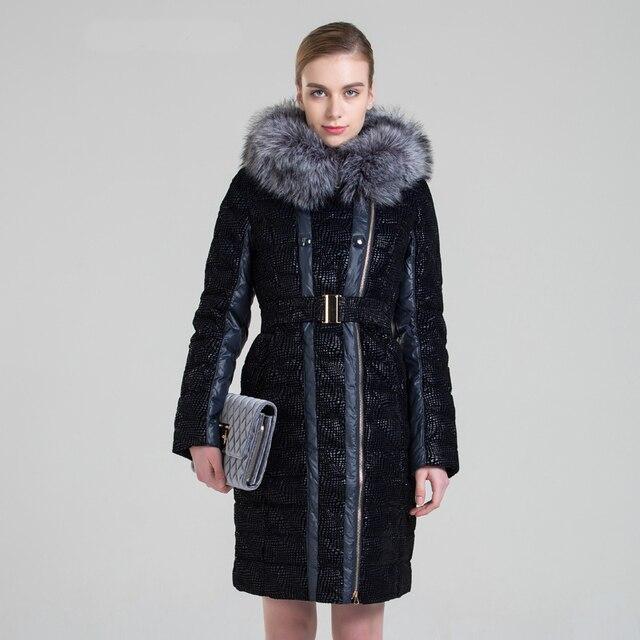 Snowka Novo Para Baixo Parka Mulheres Jaqueta de Inverno Grande Pele Artificial Long Down Jacket Grosso Outwear Quente Slim Com Capuz Marca Famosa casaco