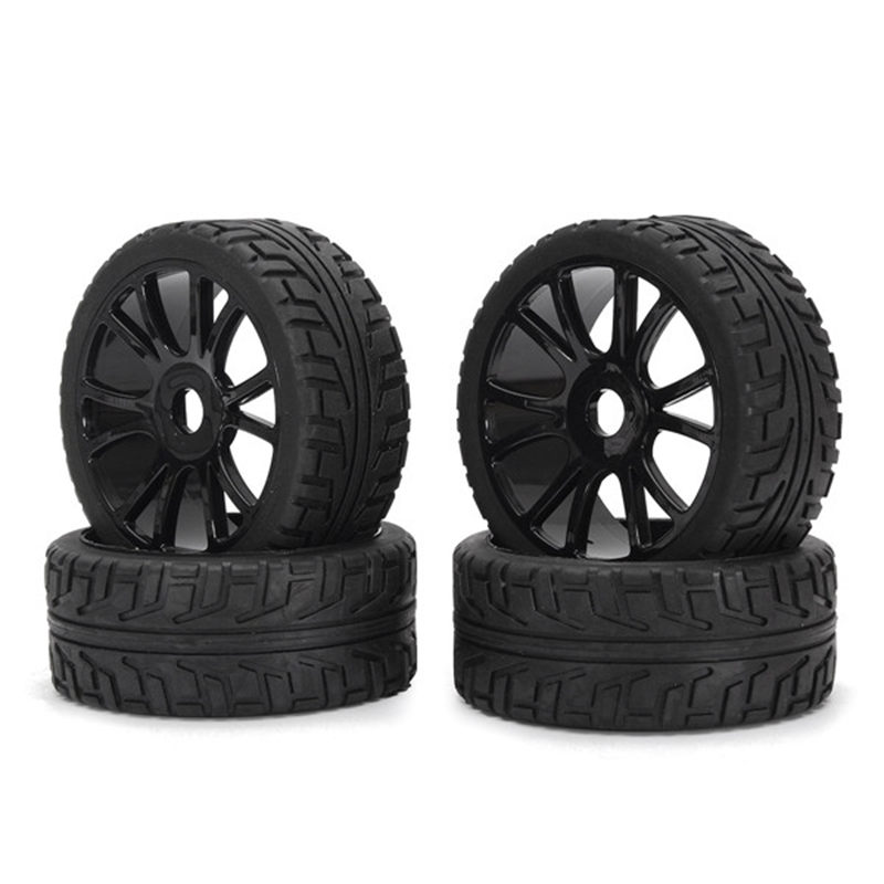 4PCS 17mm Hub Wheel Rim & Tires HSP 1:8 Off-Road RC Car Buggy Tyre Black universal replacement plastic tire w wheel rim hub for 1 10 on road model cars black 4pcs