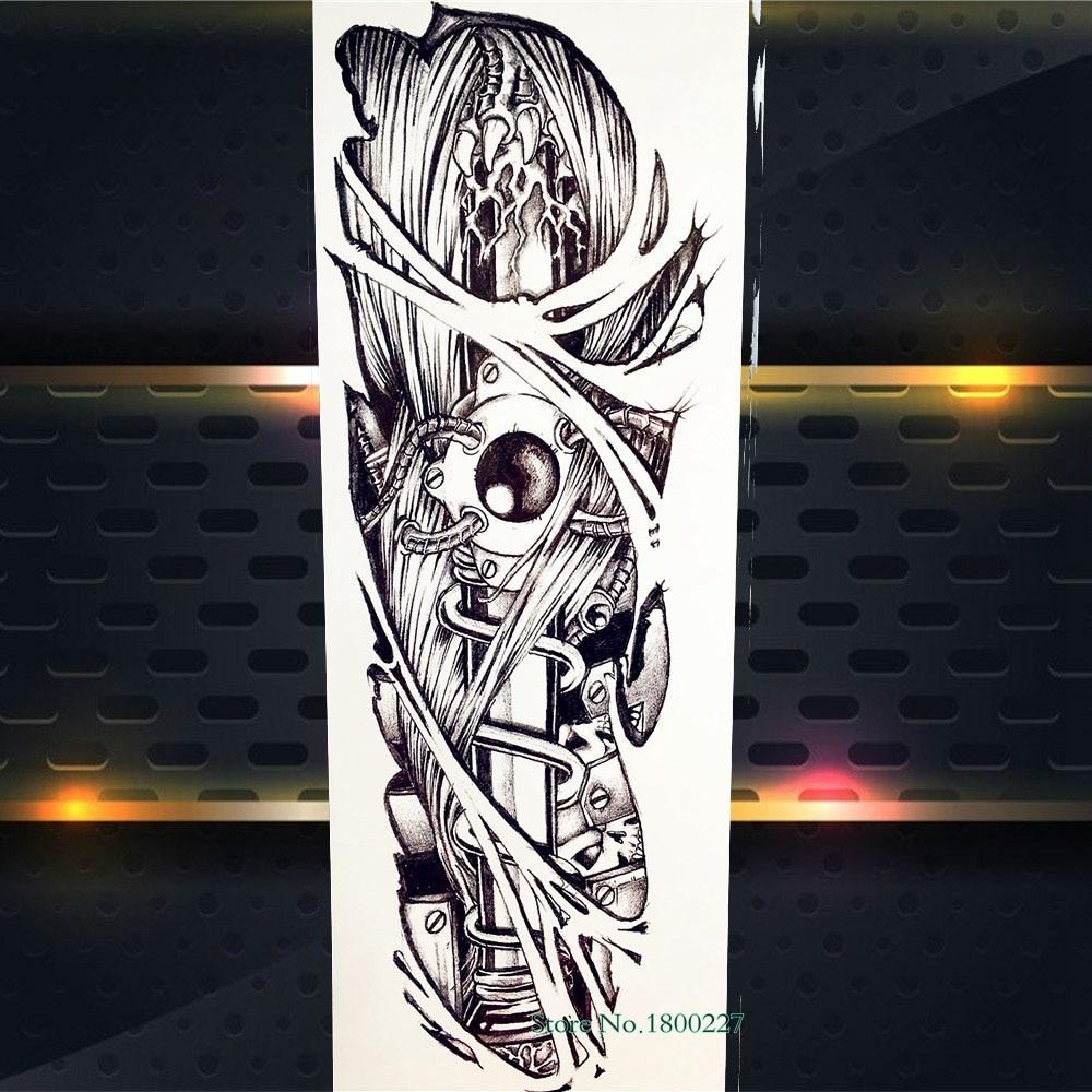 Us 156 10 Offfreedom Carp Fish Mechanical Arm Waterproof Henna Tattoo Stickers Women Body Art Full Sleeve Fake Flash Tattoo Paste Men Pqb 027 In