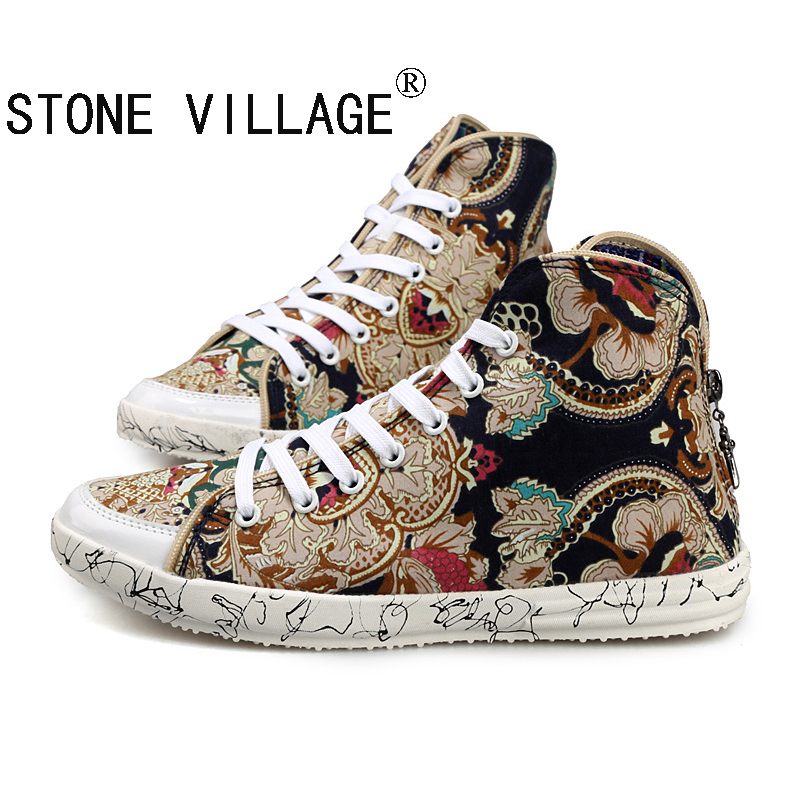 ФОТО Newest British Style High-Top Canvas Shoes Vintage Print Camouflage Men Shoes High Quality Lace-Up Back Zipper Casual Shoes