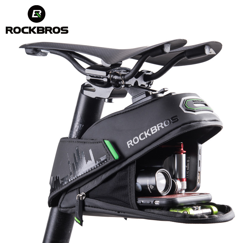 ROCKBROS Rainproof Bicycle Bag Shockproof Bike Saddle Bag For Refletive Rear Large Capatity Seatpost MTB Bike Bag Accessories(China)