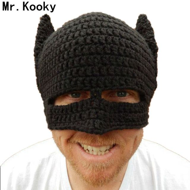 Mr.Kooky Novelty Handmade Winter Beanie Crochet Cool Batman Mask Knitted  Hats Helmet EarFlap Mens Womens Caps Party gorros gifts ca08e200971