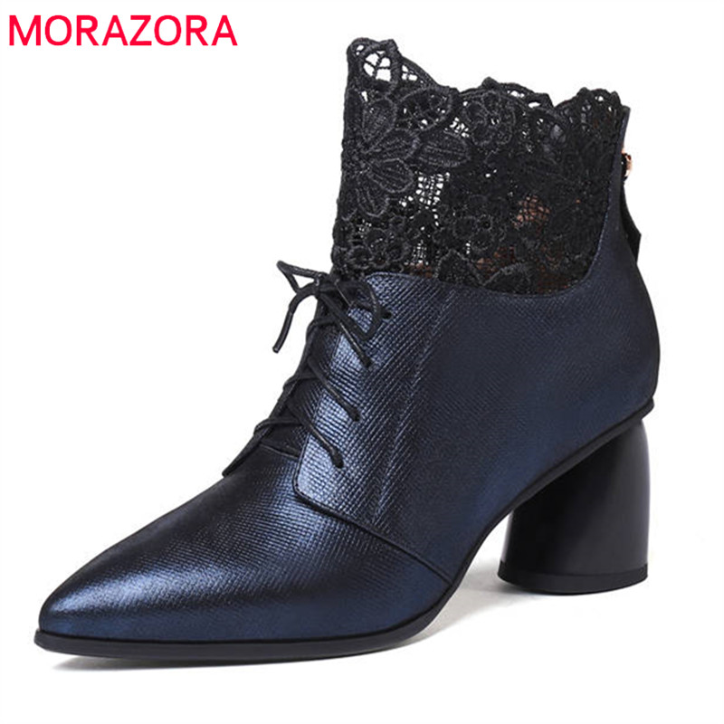 MORAZORA 2018 new arrival ankle boots for women lace up genuine leather ladies shoes pointed toe autumn winter boots high heels crossdresser vagina panty silicone panties underwear drag queen transgender shemale panties size xl