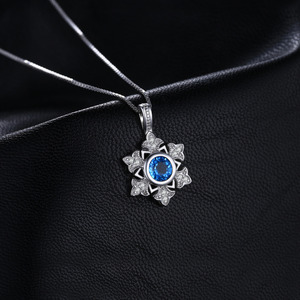 Image 3 - JewelryPalace Snowflake 1.1ct Genuine Blue Topaz Pendant 925 Sterling Silver Pendant Gift For Women Not Contain Chain 2018 Hot